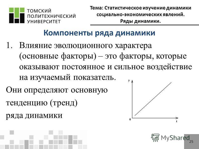 Тема: Статистическое изучение динамики социально-экономических явлений. Ряды динамики. 25 Компоненты ряда динамики 1. Влияние эволюционного характера (основные факторы) – это факторы, которые оказывают постоянное и сильное воздействие на изучаемый по