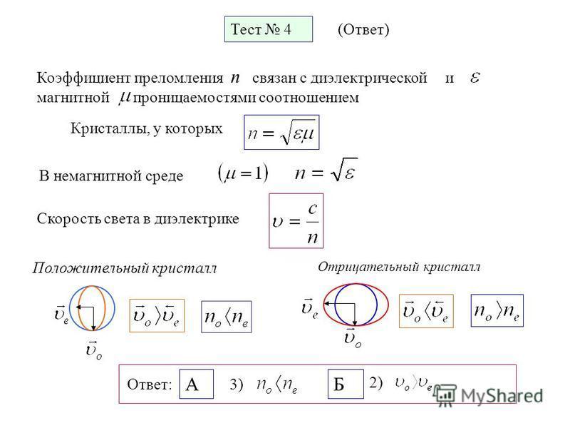 Положительный кристалл Отрицательный кристалл Тест 4 (Ответ) Коэффициент преломления n связан с диэлектрической и магнитной проницаемостями соотношением В немагнитной среде Кристаллы, у которых Скорость света в диэлектрике Ответ: А 3) Б 2) Тест 4