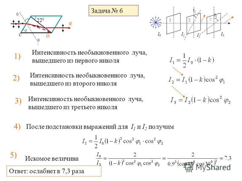 Задача 6 Интенсивность необыкновенного луча, вышедшего из первого николя 1) 22 0 0 0 0 C е о I0I0 I2I2 I3I3 f2f2 f1f1 12 3 I1I1 2) После подстановки выражений для I 1 и I 2 получим Интенсивность необыкновенного луча, вышедшего из второго николя 3) Ин