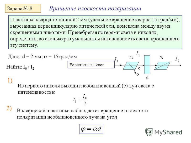 Вращение плоскости поляризации Задача 8 Пластинка кварца толщиной 2 мм (удельное вращение кварца 15 град/мм), вырезанная перпендикулярно оптической оси, помещена между двумя скрещенными николями. Пренеб регая потерями света в николях, определить, во