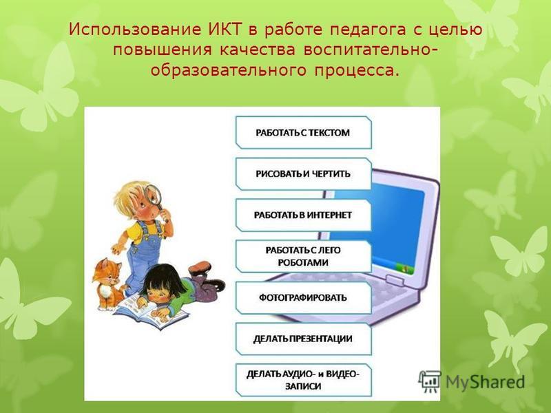 Использование ИКТ в работе педагога с целью повышения качества воспитательно- образовательного процесса.