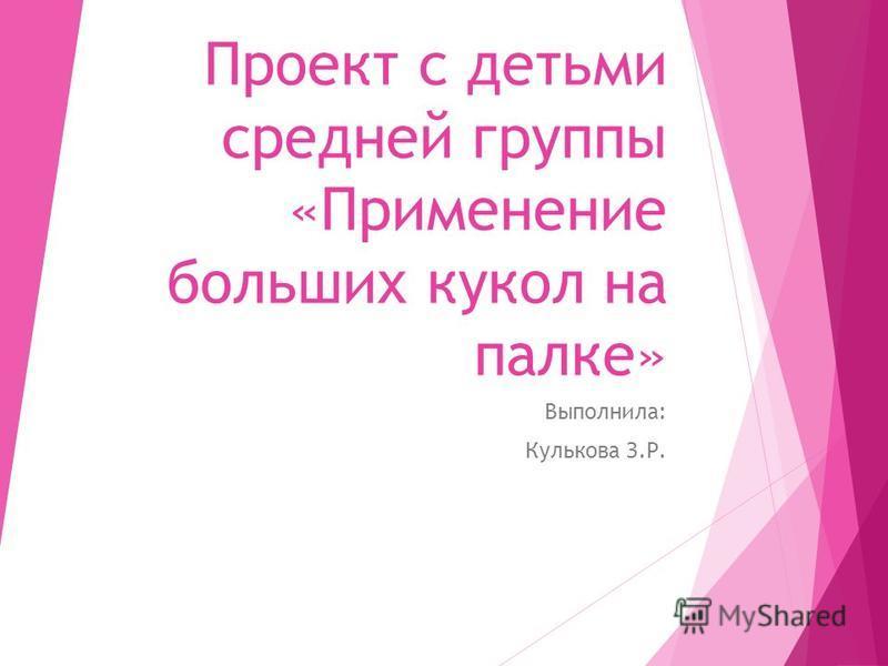 Проект с детьми средней группы «Применение больших кукол на палке» Выполнила: Кулькова З.Р.