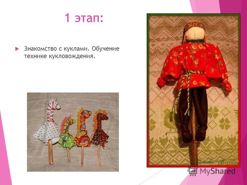 1 этап: Знакомство с куклами. Обучение технике кукловождения.