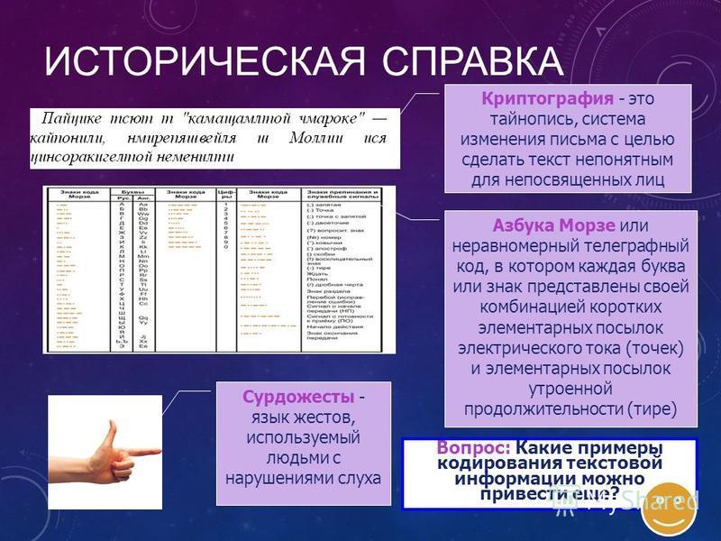 НАВИГАЦИЯ Историческая справка Примеры кодирования Код Цезаря Двоичное кодирование текстовой информации Кодовая таблица ASCII Кодовая таблица ASCII Таблицы кодировки русскоязычных символов Работа в текстовом редакторе MS Word Кодировка Unicode Кодиро