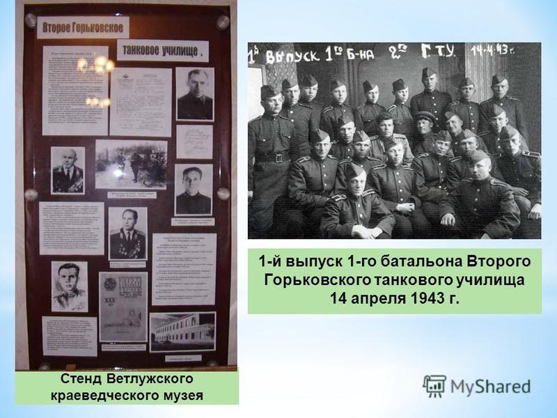 Стенд Ветлужского краеведческого музея 1-й выпуск 1-го батальона Второго Горьковского танкового училища 14 апреля 1943 г.