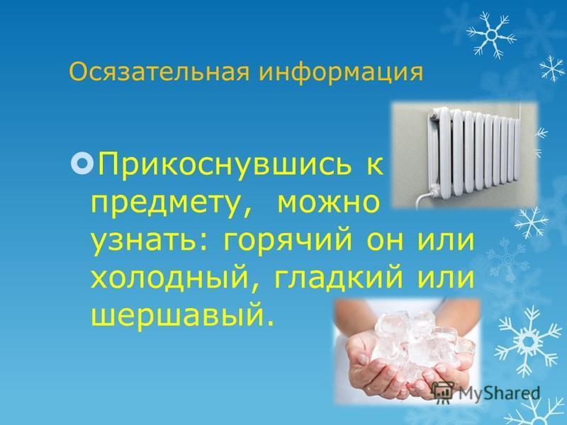 Осязательная информация Прикоснувшись к предмету, можно узнать: горячий он или холодный, гладкий или шершавый.