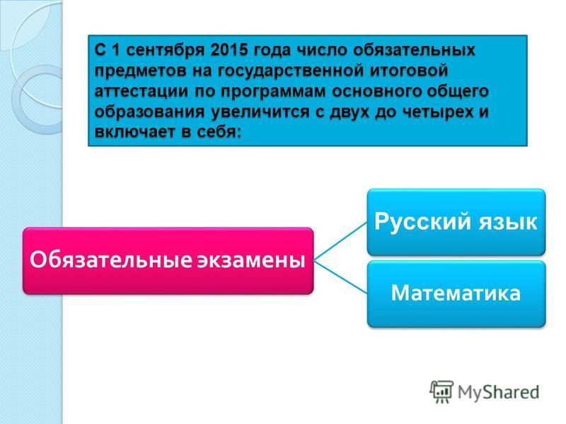 С 1 сентября 2015 года число обязательных предметов на государственной итоговой аттестации по программам основного общего образования увеличится с двух до четырех и включает в себя: Обязательные экзамены Русский язык Математика
