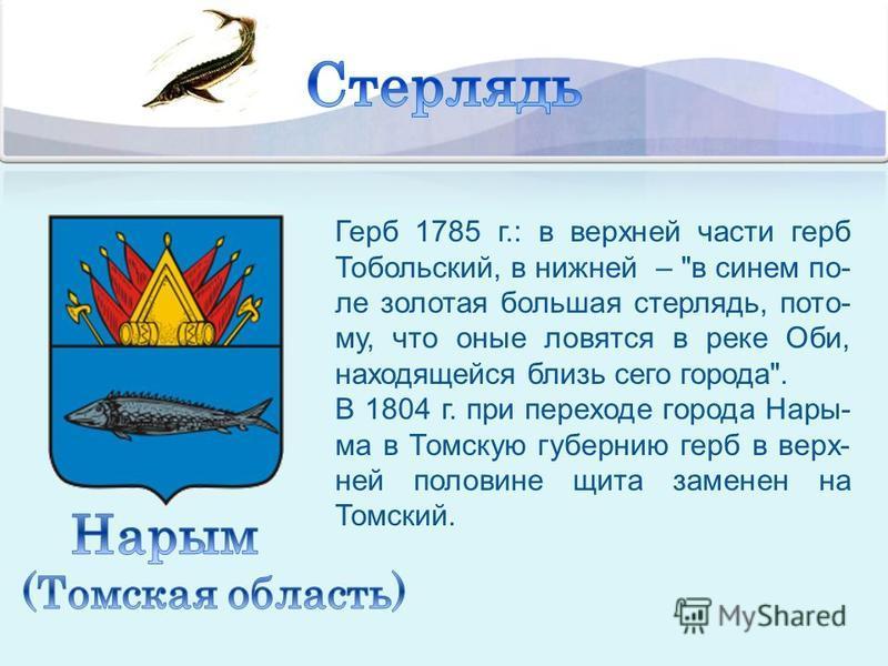Герб 1785 г.: в верхней части герб Тобольский, в нижней –