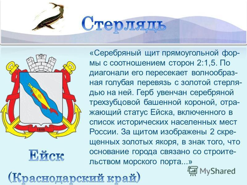«Серебряный щит прямоугольной фор- мы с соотношением сторон 2:1,5. По диагонали его пересекает волнообразная голубая перевязь с золотой стерлядь ю на ней. Герб увенчан серебряной трехзубцовой башенной короной, отражающий статус Ейска, включенного в с