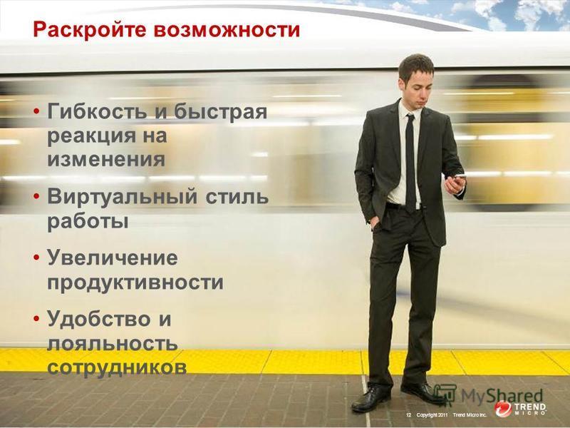 Раскройте возможности Гибкость и быстрая реакция на изменения Виртуальный стиль работы Увеличение продуктивности Удобство и лояльность сотрудников 12 Copyright 2011 Trend Micro Inc.