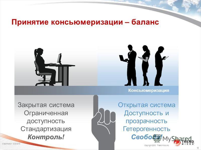 Copyright 2010 Trend Micro Inc. Classification 12/20/2015 16 Закрытая система Ограниченная доступность Стандартизация Контроль! Принятие консьюмеризации – баланс Открытая система Доступность и прозрачность Гетерогенность Свобода! Консьюмеризация