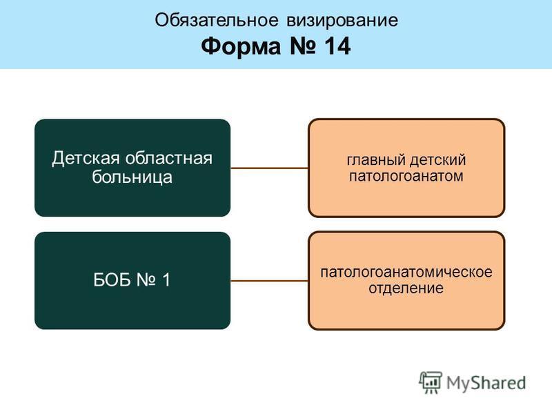 Детская областная больница главный детский патологоанатом БОБ 1 патологоанатомическое отделение Обязательное визирование Форма 14