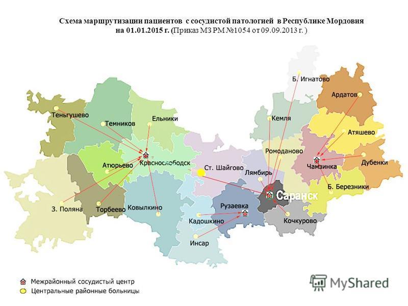 Схема маршрутизации пациентов с сосудистой патологией в Республике Мордовия на 01.01.2015 г. (Приказ МЗ РМ 1054 от 09.09.2013 г. )