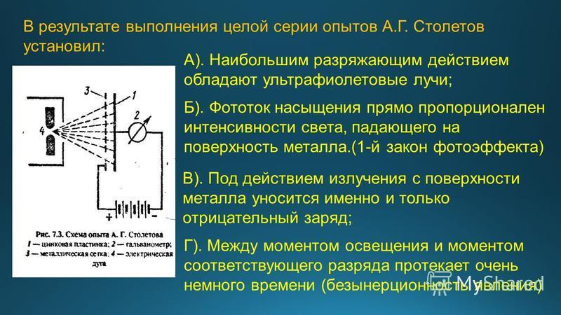 В результате выполнения целой серии опытов А.Г. Столетов установил: А). Наибольшим разряжающим действием обладают ультрафиолетовые лучи; Б). Фототок насыщения прямо пропорционален интенсивности света, падающего на поверхность металла.(1-й закон фотоэ