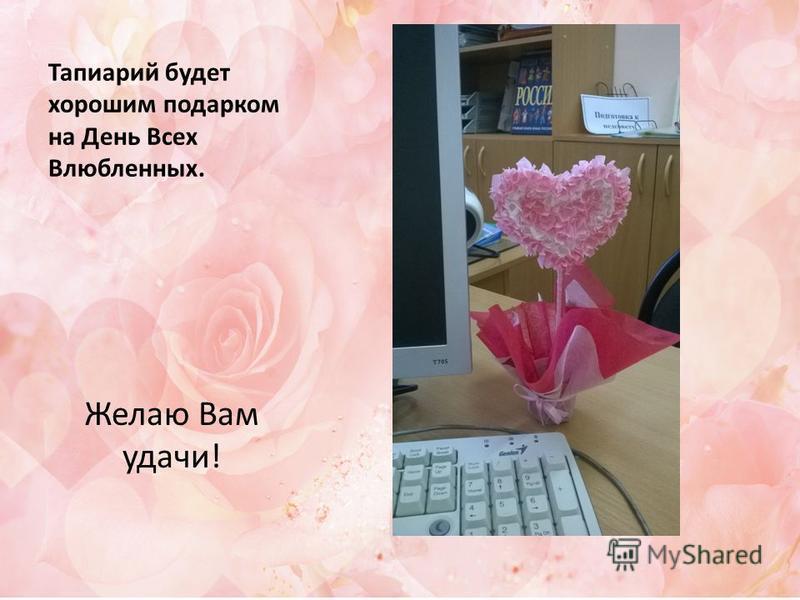 Тапиарий будет хорошим подарком на День Всех Влюбленных. Желаю Вам удачи!
