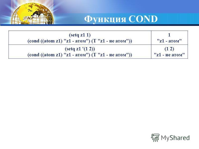 Функция COND (setq z1 1) (cond ((atom z1) z1 - атом) (T z1 - не атом)) 1 z1 - атом (setq z1 '(1 2)) (cond ((atom z1) z1 - атом) (T z1 - не атом)) (1 2) z1 - не атом