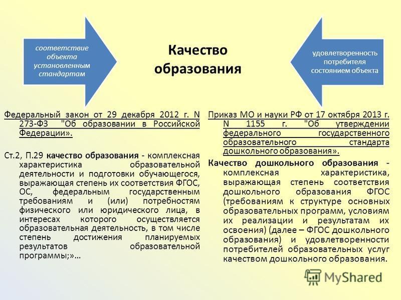 Качество образования Федеральный закон от 29 декабря 2012 г. N 273-ФЗ