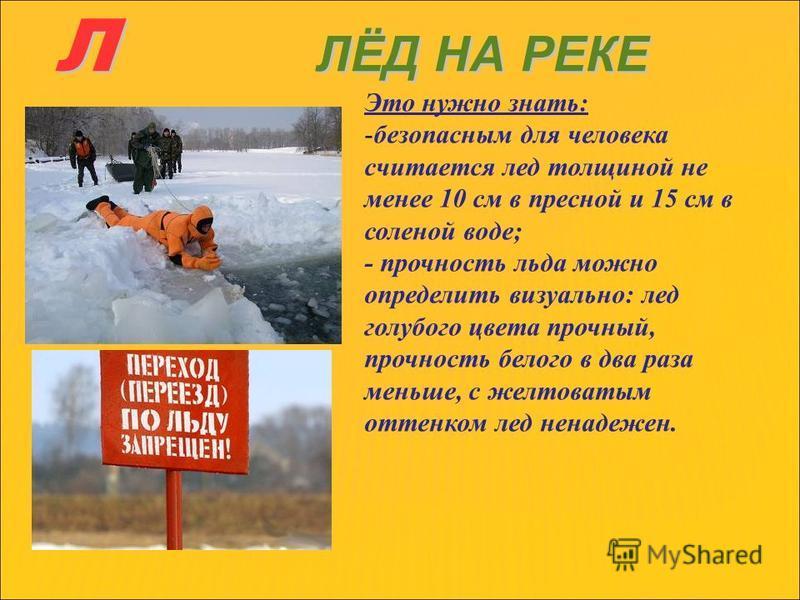 Л ЛЁД НА РЕКЕ Это нужно знать: -безопасным для человека считается лед толщиной не менее 10 см в пресной и 15 см в соленой воде; - прочность льда можно определить визуально: лед голубого цвета прочный, прочность белого в два раза меньше, с желтоватым