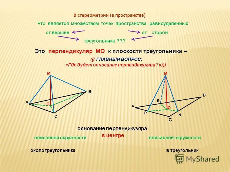 В стереометрии (в пространстве) Что является множеством точек пространства равноудаленных от вершин от сторон треугольника ??? Это перпендикуляр МО к плоскости треугольника – основание перпендикуляра в центре описанной окружности вписанной окружности