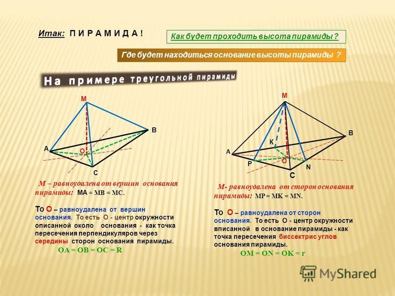 М – равноудалена от вершин основания пирамиды: MA = MB = MC. То О – равноудалена от вершин основания. То есть О - центр окружности описанной около основания - как точка пересечения перпендикуляров через середины сторон основания пирамиды. OA = OB = O