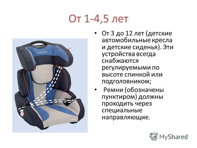 От 1-4,5 лет От 3 до 12 лет (детские автомобильные кресла и детские сиденья). Эти устройства всегда снабжаются регулируемыми по высоте спинкой или подголовником; Ремни (обозначены пунктиром) должны проходить через специальные направляющие.
