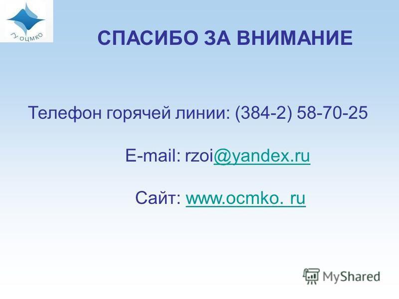 СПАСИБО ЗА ВНИМАНИЕ Телефон горячей линии: (384-2) 58-70-25 E-mail: rzoi@yandex.ru@yandex.ru Сайт: www.ocmko. ruwww.ocmko. ru