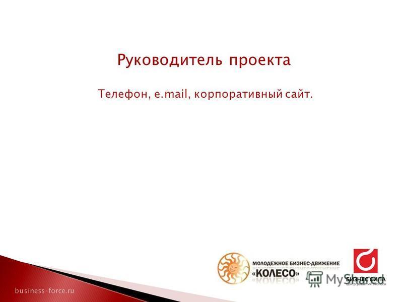 Руководитель проекта Телефон, e.mail, корпоративный сайт.