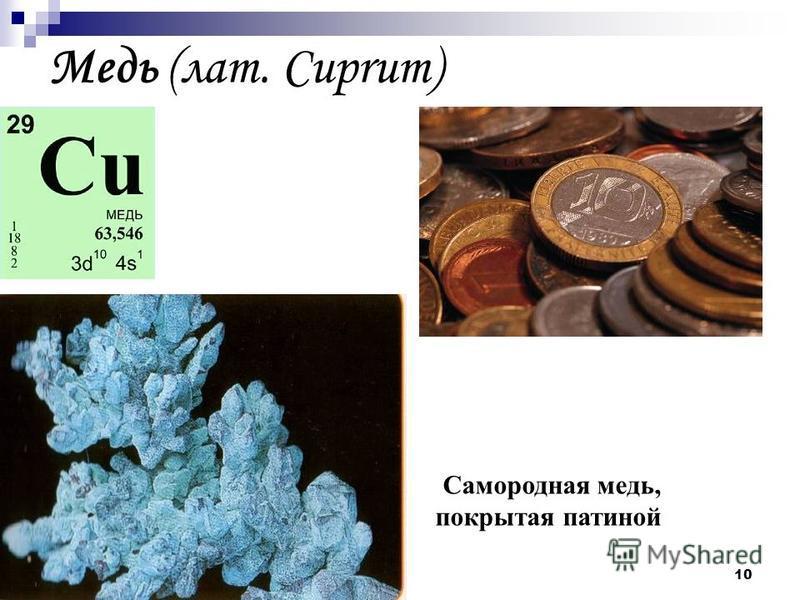 10 Медь (лат. Cuprum) Самородная медь, покрытая патиной