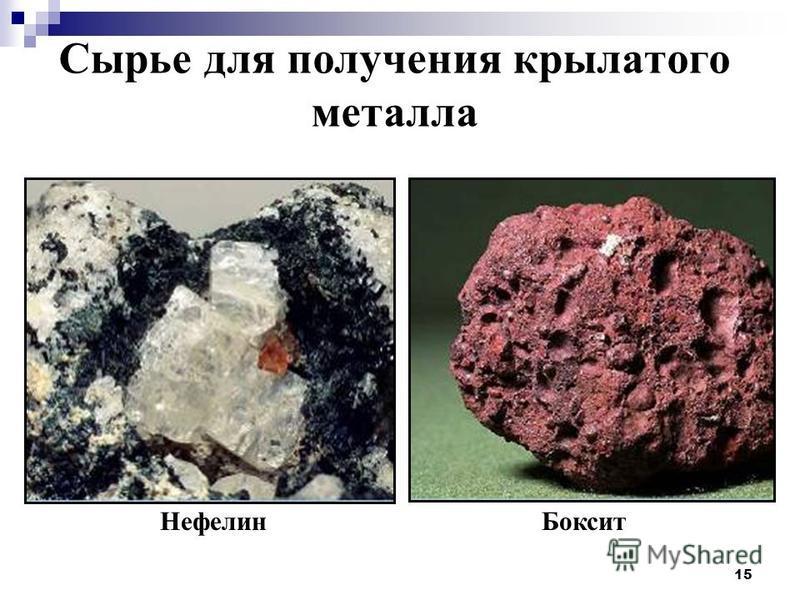 15 Сырье для получения крылатого металла Нефелин Боксит