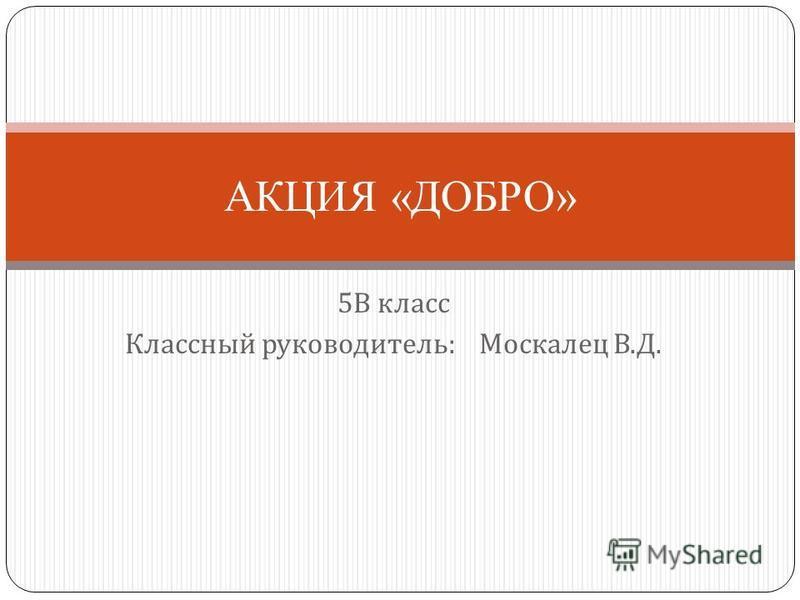 5 В класс Классный руководитель : Москалец В. Д. АКЦИЯ «ДОБРО»