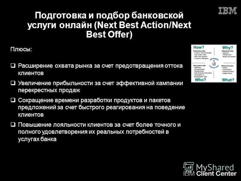 Подготовка и подбор банковской услуги онлайн (Next Best Action/Next Best Offer) Плюсы: Расширение охвата рынка за счет предотвращения оттока клиентов Увеличение прибыльности за счет эффективной кампании перекрестных продаж Сокращение времени разработ