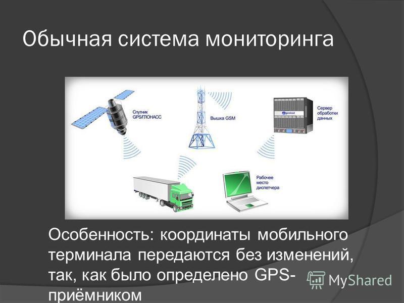 Обычная система мониторинга Особенность: координаты мобильного терминала передаются без изменений, так, как было определено GPS- приёмником