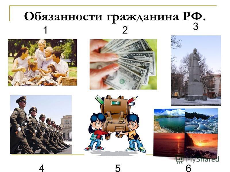 Обязанности гражданина РФ. 12 3 456