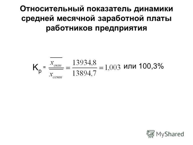 Относительный показатель динамики средней месячной заработной платы работников предприятия KpKp или 100,3% =