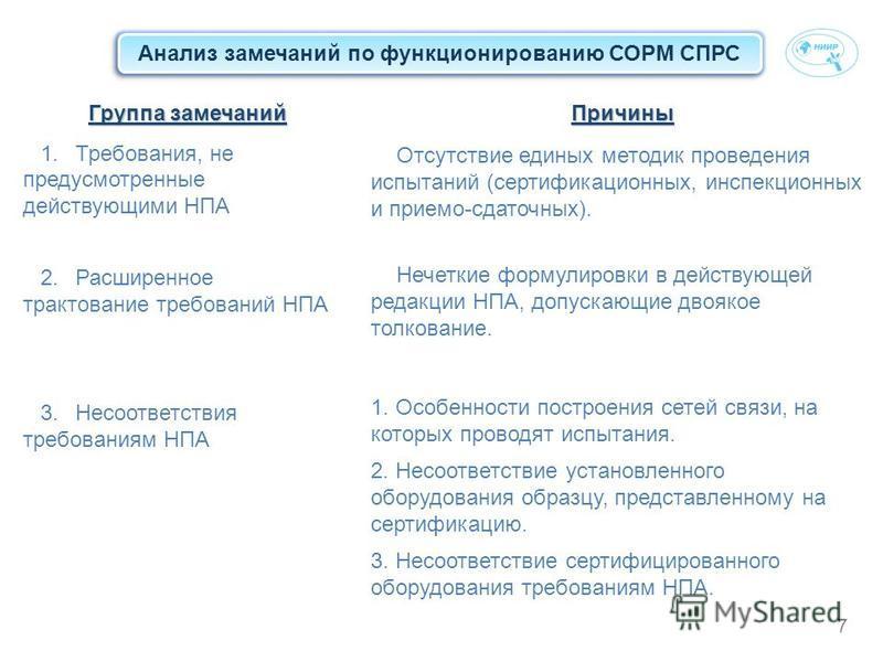 7 Анализ замечаний по функционированию СОРМ СПРС Группа замечаний 1.Требования, не предусмотренные действующими НПА 2. Расширенное трактование требований НПА 3. Несоответствия требованиям НПАПричины Отсутствие единых методик проведения испытаний (сер