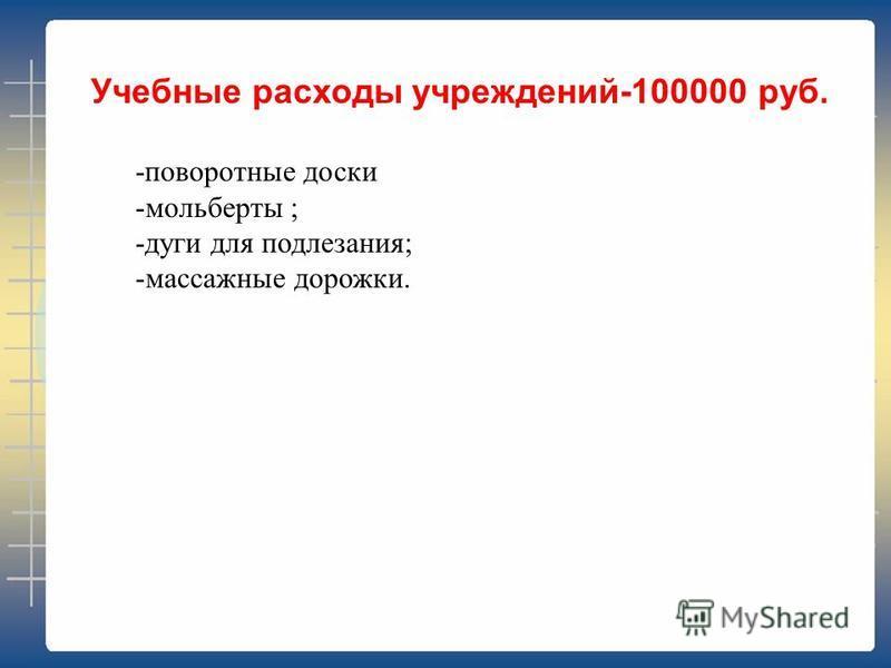 Учебные расходы учреждений-100000 руб. -поворотные доски -мольберты ; -дуги для подлезания; -массажные дорожки.