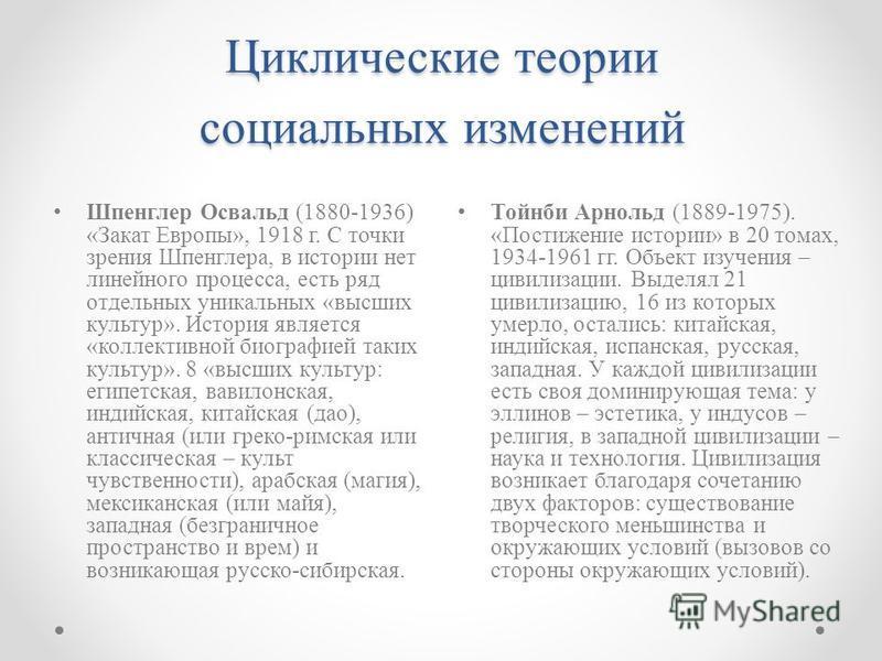 Циклические теории социальных изменений Шпенглер Освальд (1880-1936) «Закат Европы», 1918 г. С точки зрения Шпенглера, в истории нет линейного процесса, есть ряд отдельных уникальных «высших культур». История является «коллективной биографией таких к