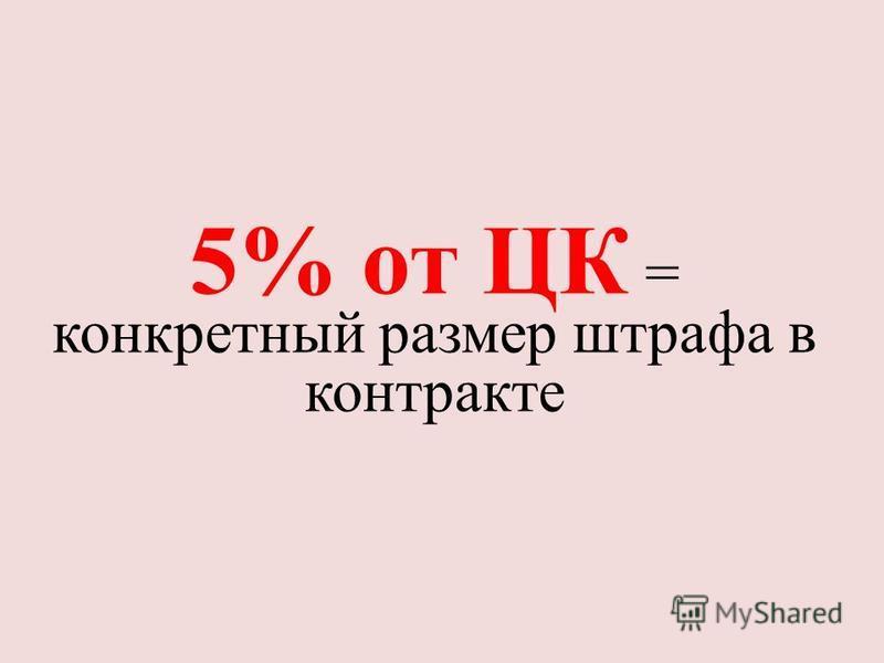 5% от ЦК = конкретный размер штрафа в контракте