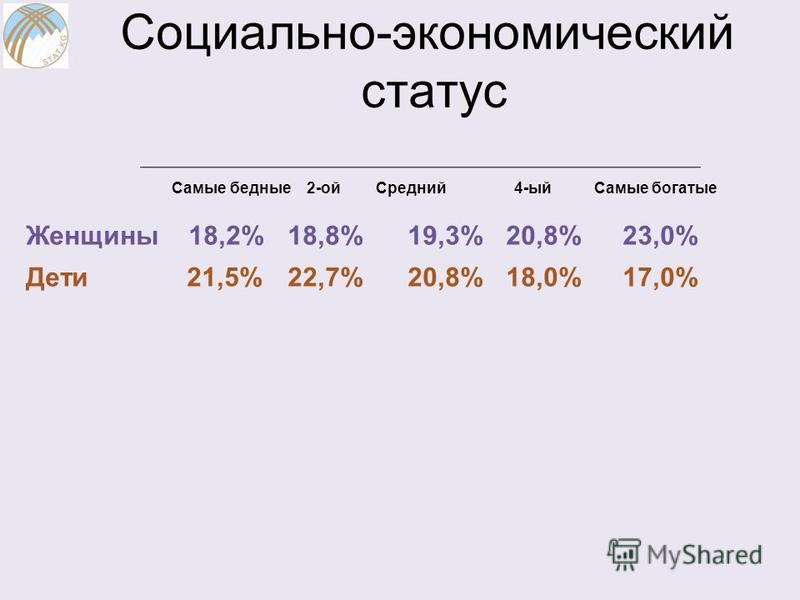 Социально-экономический статус Самые бедные 2-ой Средний 4-ый Самые богатые Женщины 18,2% 18,8% 19,3% 20,8% 23,0% Дети 21,5% 22,7% 20,8% 18,0% 17,0%