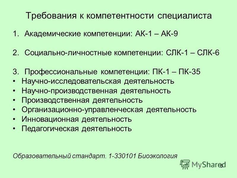 Требования к компетентности специалиста 6 1. Академические компетенции: АК-1 – АК-9 2.Социально-личностные компетенции: СЛК-1 – СЛК-6 3. Профессиональные компетенции: ПК-1 – ПК-35 Научно-исследовательская деятельность Научно-производственная деятельн