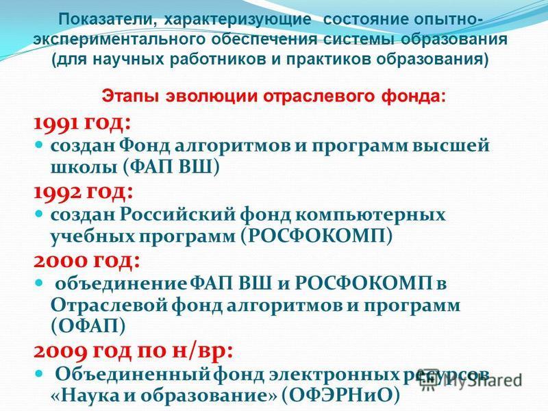 1991 год: создан Фонд алгоритмов и программ высшей школы (ФАП ВШ) 1992 год: создан Российский фонд компьютерных учебных программ (РОСФОКОМП) 2000 год: объединение ФАП ВШ и РОСФОКОМП в Отраслевой фонд алгоритмов и программ (ОФАП) 2009 год по н/вр: Объ