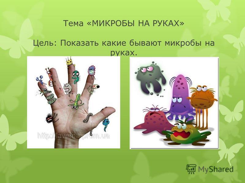 Тема «МИКРОБЫ НА РУКАХ» Цель: Показать какие бывают микробы на руках.