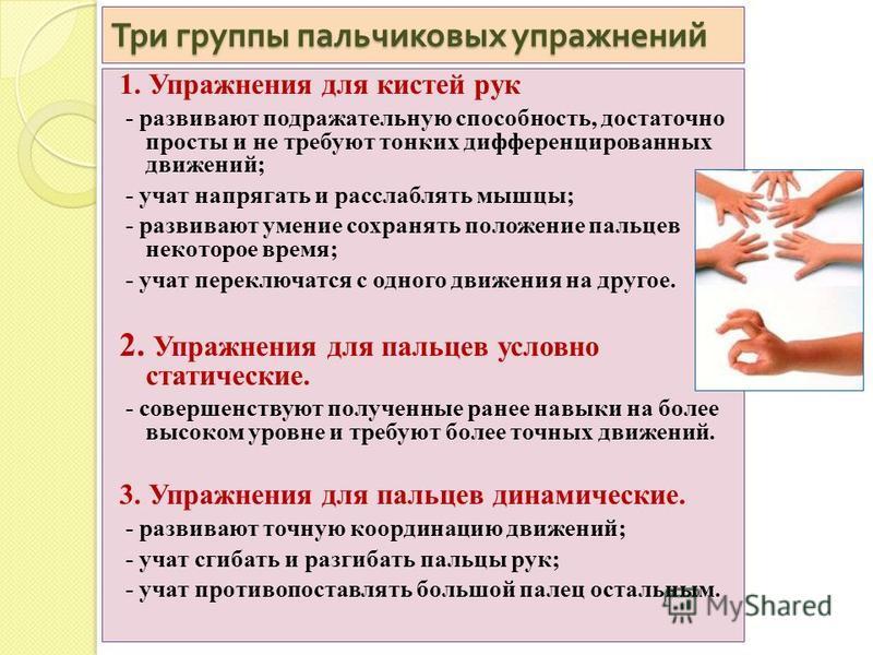 Три группы пальчиковых упражнений 1. Упражнения для кистей рук - развивают подражательную способность, достаточно просты и не требуют тонких дифференцированных движений; - учат напрягать и расслаблять мышцы; - развивают умение сохранять положение пал