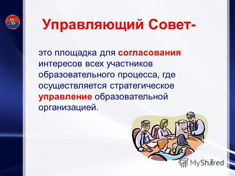 это площадка для согласования интересов всех участников образовательного процесса, где осуществляется стратегическое управление образовательной организацией. 7