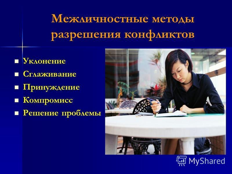 Межличностные методы разрешения конфликтов Уклонение Сглаживание Принуждение Компромисс Решение проблемы