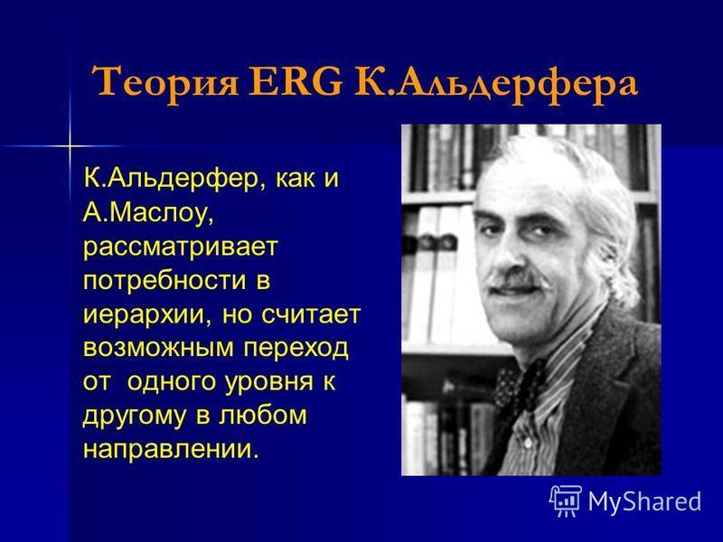 Теория ERG К.Альдерфера К.Альдерфер, как и А.Маслоу, рассматривает потребности в иерархии, но считает возможным переход от одного уровня к другому в любом направлении.