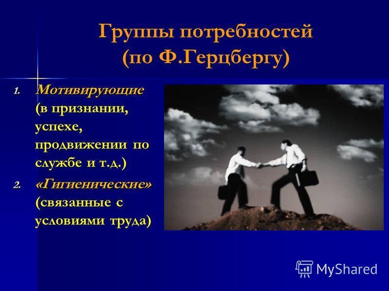 Группы потребностей (по Ф.Герцбергу) 1. Мотивирующие 1. Мотивирующие (в признании, успехе, продвижении по службе и т.д.) 2. «Гигиенические» 2. «Гигиенические» (связанные с условиями труда)