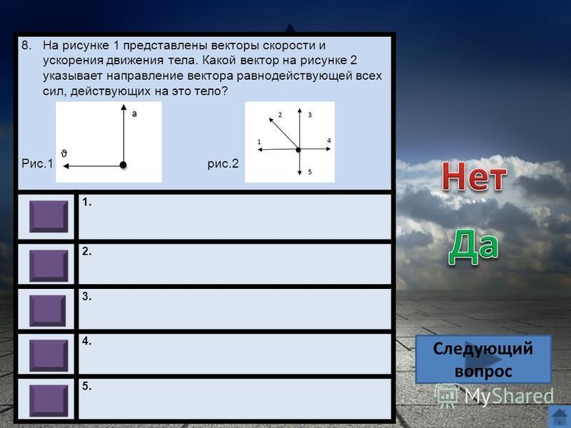 8. На рисунке 1 представлены векторы скорости и ускорения движения тела. Какой вектор на рисунке 2 указывает направление вектора равнодействующей всех сил, действующих на это тело? Рис.1 рис.2 1. 2. 3. 4. 5. Следующий вопрос