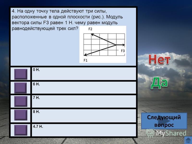 4. На одну точку тела действуют три силы, расположенные в одной плоскости (рис.). Модуль вектора силы F3 равен 1 Н. чему равен модуль равнодействующей трех сил? 0 Н. 6 Н. 7 Н. 8 Н. 4.7 Н. Следующий вопрос