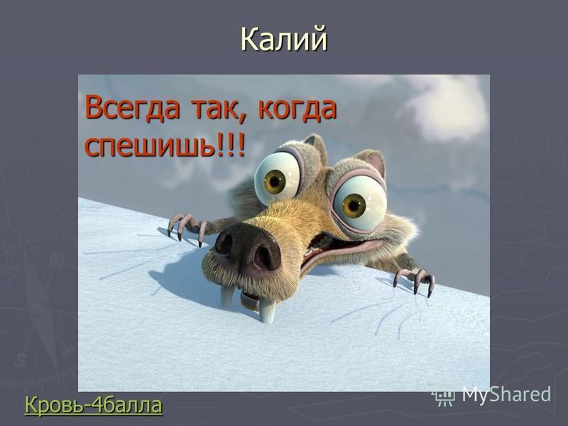 Калий Кровь-4 балла Всегда так, когда спешишь!!!